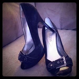 Guess Black Leather Peep toe Pumps